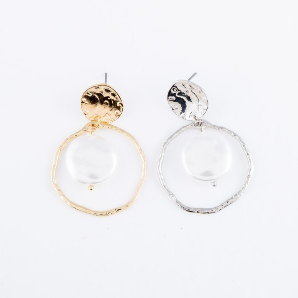 "Faux Freshwater Pearl Nested Drop Earring in Gold.  - Pearl (approx) .75""  - Approximately 1.5"" L - Approximately 1.25"" in Diameter"