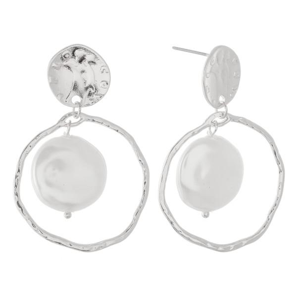 "Faux Freshwater Pearl Nested Drop Earring in Rhodium.  - Pearl (approx) .75""  - Approximately 1.5"" L - Approximately 1.25"" in Diameter"