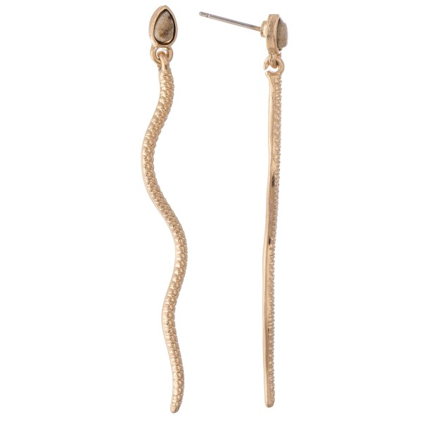 """Designer Inspired Snake Earrings Featuring Natural Stone Accent.  - Approximately 2.5"""" L"""