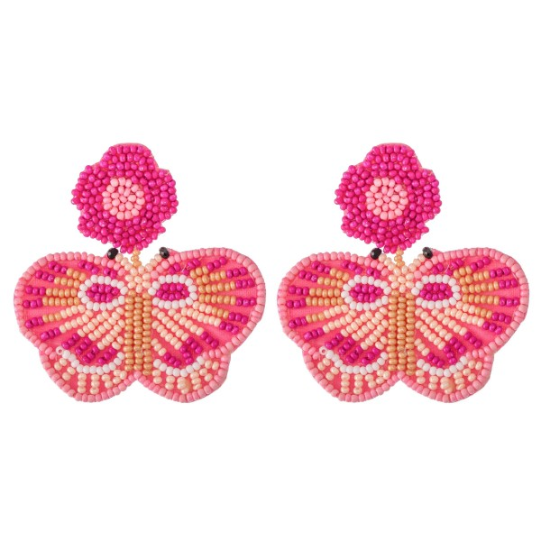 "Oversized Seed Beaded Felt Floral Butterfly Earrings.  - Approximately 2"" x 2.25"""