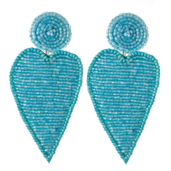 "Oversized Seed Beaded Felt Narrow Heart Earrings.  - Approximately 3"""