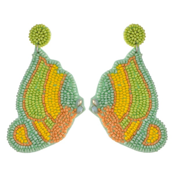 Oversized Seed Beaded Felt Butterfly Drop Earrings.  - Approximately 3""