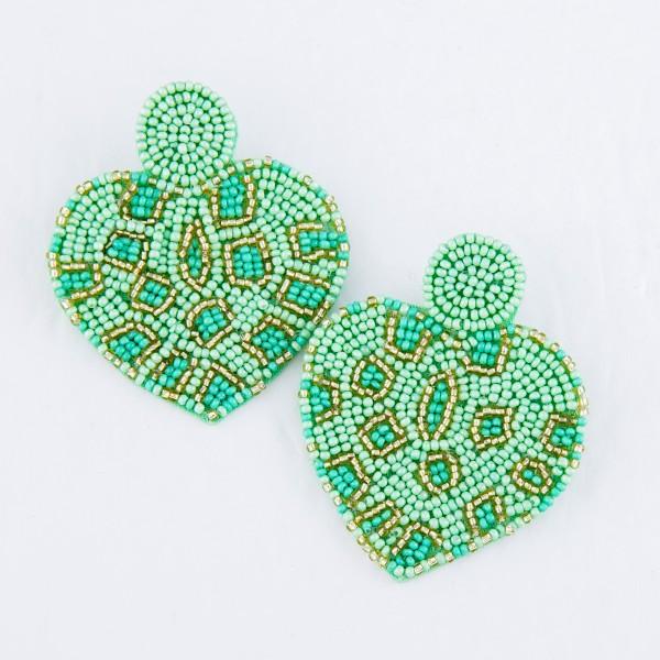 """Oversized Seed Beaded Animal Print Felt Heart Earrings.  - Approximately 2.5"""""""