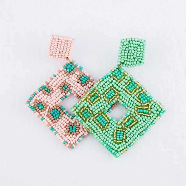 "Diamond Shape Seed Beaded Animal Print Felt Drop Earrings.  - Approximately 2.5"""