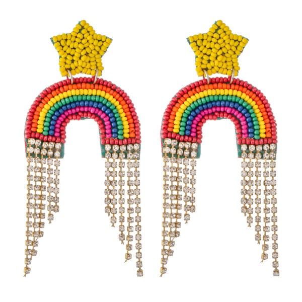 Wholesale seed Beaded Rainbow Felt Rhinestone Tassel Statement Earrings L W