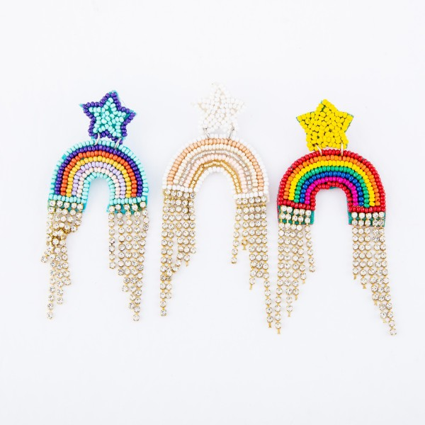 "Seed Beaded Rainbow Felt Rhinestone Tassel Statement Earrings.  - Approximately 3"" L x 1.5"" W"