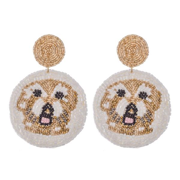 Wholesale oversized Seed Beaded Designer Inspired Dog Felt Drop Earrings L Diame