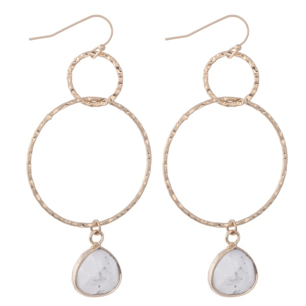"Circle Linked Natural Stone Drop Earrings.  - Approximately 2.5"" L"