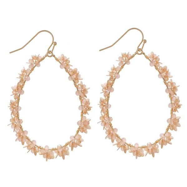 """Sequin Flower Beaded Teardrop Earrings in Gold.  - Approximately 2.5"""" Long"""