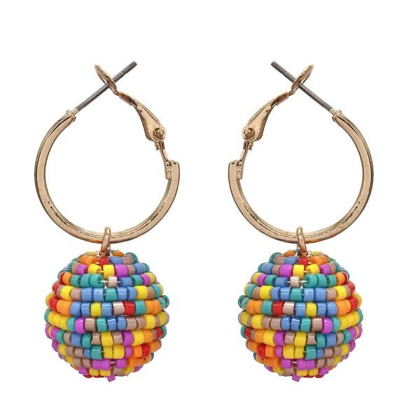Wholesale seed Beaded Ball Drop Hoop Earrings Gold Ball mm Hoop Diameter Long