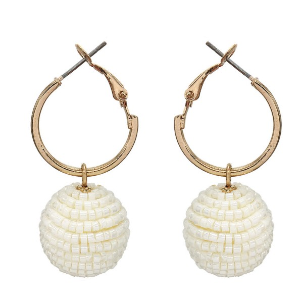 "Seed Beaded Ball Drop Hoop Earrings in Gold.  - Ball Size 16mm - Hoop Diameter 1""  - Approximately 1.25"" Long"