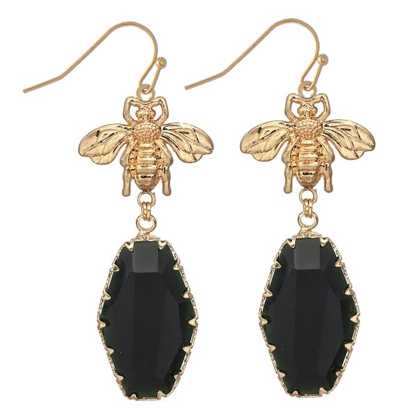 """Designer Inspired Crystal Drop Earrings Featuring BumbleBee Detail in Gold.  - Approximately 3"""" L"""