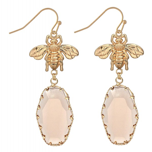 "Designer Inspired Crystal Drop Earrings Featuring BumbleBee Detail in Gold.  - Approximately 3"" L"