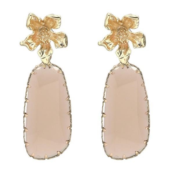 "Flower Crystal Drop Earrings in Gold.  - Flower Accent .5"" in Diameter - Approximately 2"" Long"