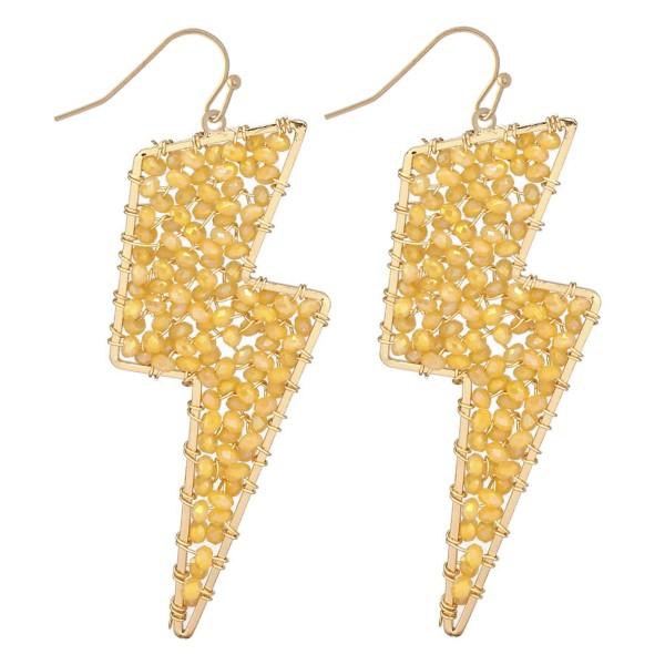 "Beaded Lightning Bolt Drop Earrings in Gold.  - Approximately 2.5"" Long"