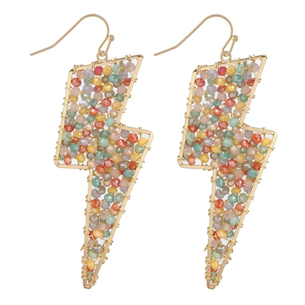 Wholesale beaded Lightning Bolt Drop Earrings Gold Long