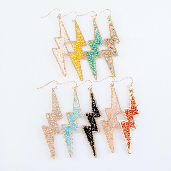 "Beaded Lightning Bolt Statement Drop Earrings in Gold.  - Approximately 3"" Long"