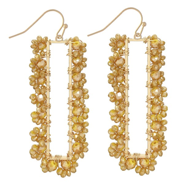 """Wire Wrapped Flower Beaded Bar Earrings in Gold.  - Approximately 2.5"""" Long"""