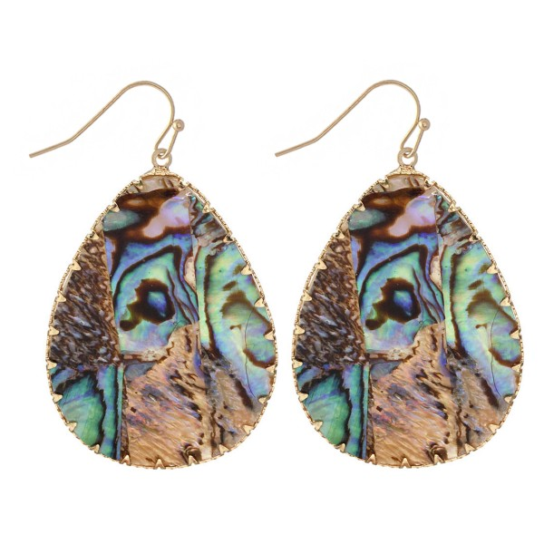 "Abalone Teardrop Earrings in Gold.  - Approximately 2"" Long"