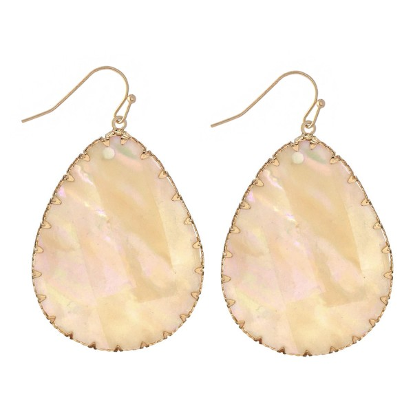 "Mother of Pearl Teardrop Earrings in Gold.  - Approximately 2"" Long"