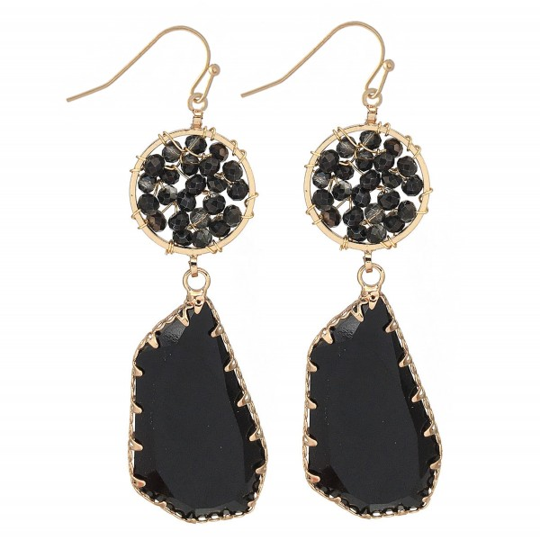 """Beaded Crystal Drop Earrings in Gold.  - Approximately 2.5"""" L"""
