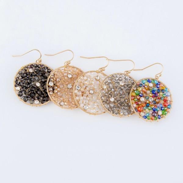 """Wire Beaded Rhinestone Filled Drop Earrings.  - Approximately 2"""" Long  - 1.5"""" in Diameter"""