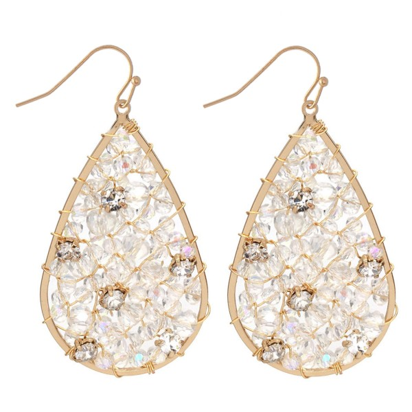 """Wire Beaded Teardrop Earrings Featuring Rhinestone Accents.  - Approximately 2"""" L"""