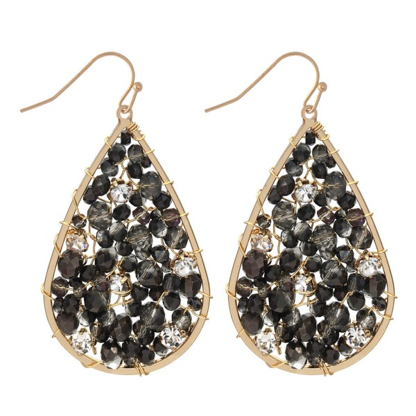 "Wire Beaded Teardrop Earrings Featuring Rhinestone Accents.  - Approximately 2"" L"