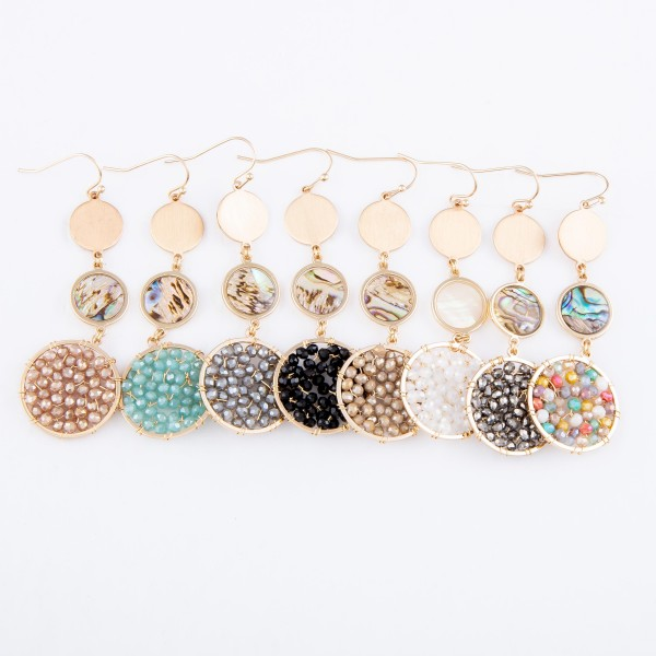 "Beaded Drop Earrings Featuring Abalone Accent in Gold.  - Approximately 2.75"" L"