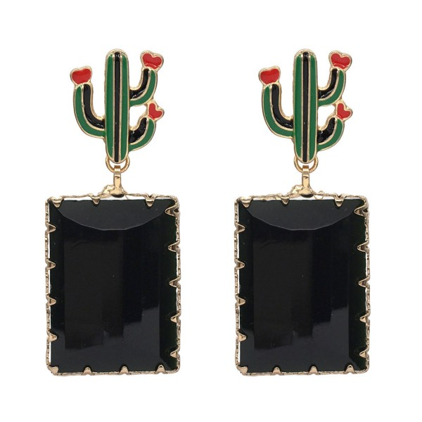 """Cactus Crystal Drop Earrings in Gold.  - Approximately 2"""" Long"""