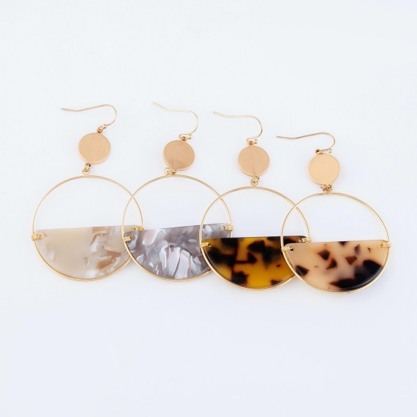 "Half Acrylic Tortoise Circular Drop Earrings in Gold.  - Approximately 2.5"" Long  - 2"" in Diameter"