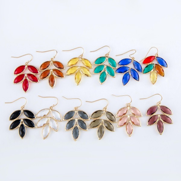 """Crystal Leaf Drop Earrings in Gold.  - Approximately 1.5"""" Long"""