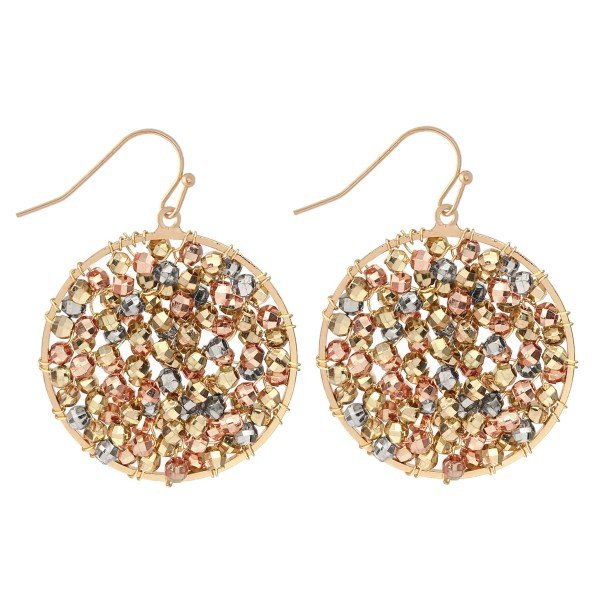 "Metal Tone Beaded Circle Drop Earrings.  - Approximately 1.5"" Long  - Approximately 1"" in Diameter"