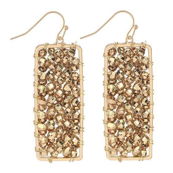 "Beaded Filled Bar Drop Earrings.  - Approximately 2"" L"