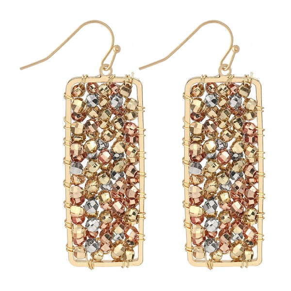 "Tri-Tone Beaded Filled Bar Drop Earrings.  - Approximately 2"" L"