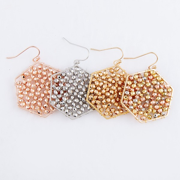 "Beaded Filled Hexagon Drop Earrings.  - Approximately 2"" L"
