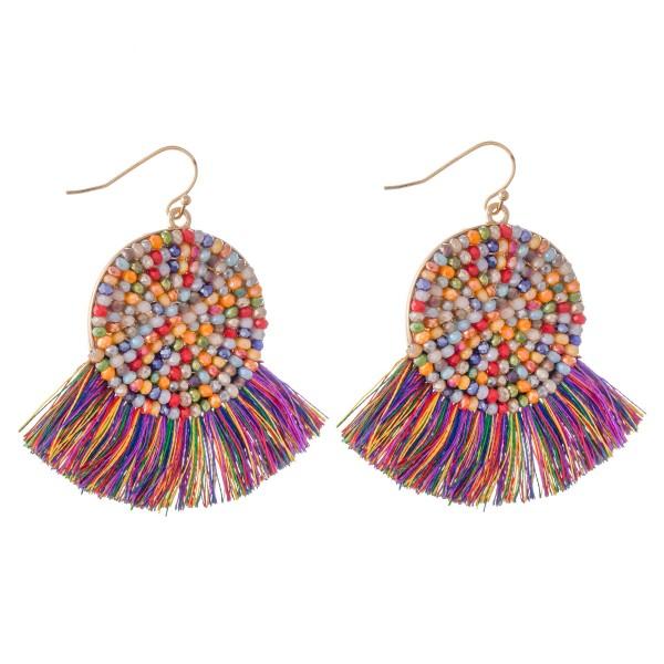 """Beaded Tassel Drop Earrings.  - Approximately 2"""" L"""