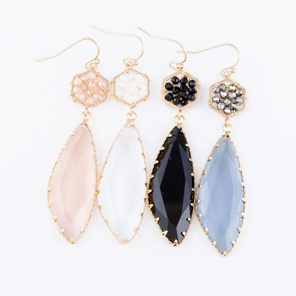"""Crystal Drop Earrings Featuring Beaded Accent.  - Approximately 3"""" L"""