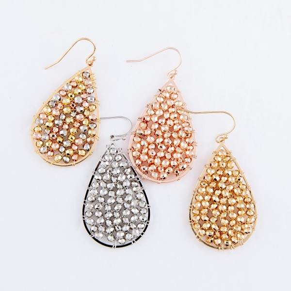 "Beaded Filled Teardrop Earrings.  - Approximately 2"" L"