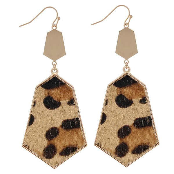 "Metal Encased Faux Leather Cheetah Print Drop Earrings.  - Approximately 3"" L"