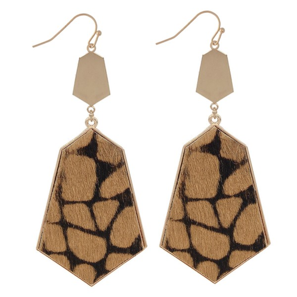 "Metal Encased Faux Leather Animal Print Drop Earrings.  - Approximately 3"" L"
