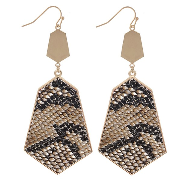 "Metal Encased Faux Leather Snakeskin Drop Earrings.  - Approximately 3"" L"