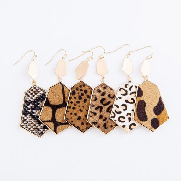 "Metal Encased Faux Leather Leopard Print Drop Earrings.  - Approximately 3"" L"