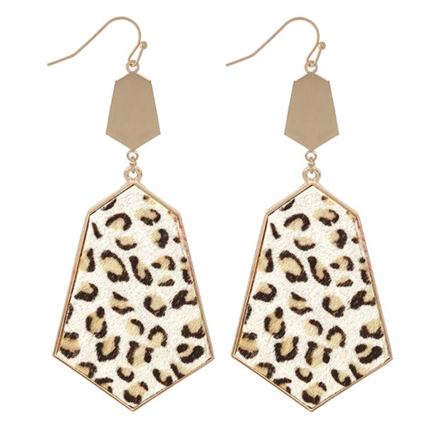 "Metal Encased Faux Leather Leoaprd Print Drop Earrings.  - Approximately 3"" L"