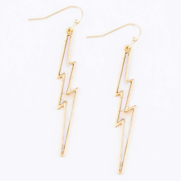 "Brass Mother of Pearl Lightning Bolt Drop Earrings.  - Approximately 2.25"" L"