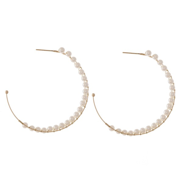 Wholesale wire Wrapped Ivory Pearl Beaded Hoop Earrings Diameter