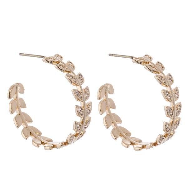 Wholesale brass Cubic Zirconia Leaf Hoop Earrings Diameter