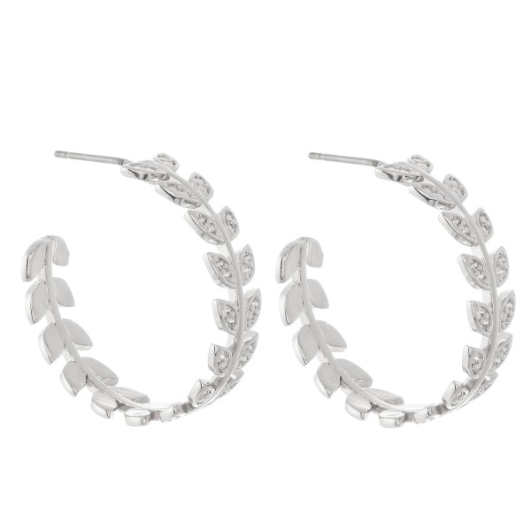 Wholesale brass Cubic Zirconia Leaf Hoop Earrings Diameter