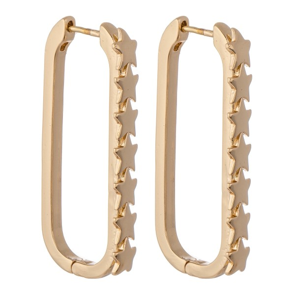 Wholesale brass Link Star Hoop Earrings L