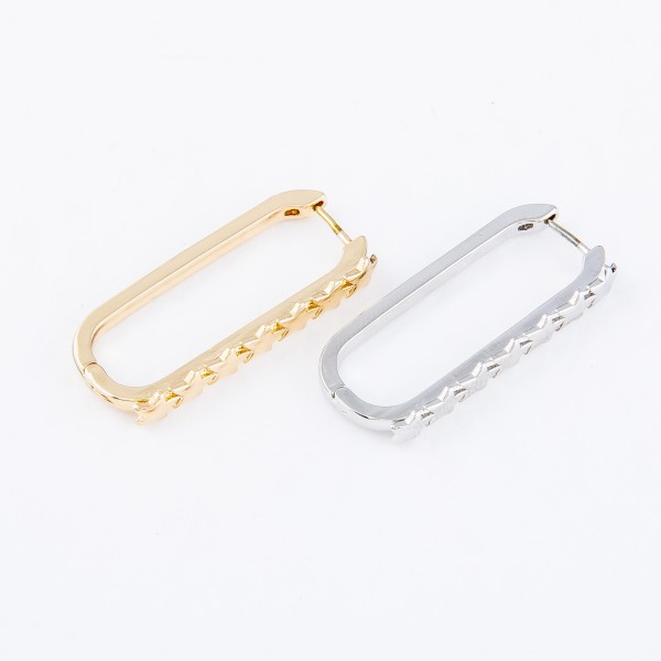"Brass Link Star Hoop Earrings.  - Approximately 1.25"" L"